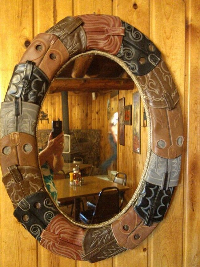 DIY Cowboy Boot Mirror Frame