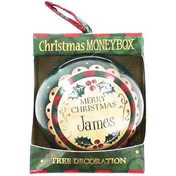 Personalised Money Box Bauble - James | Money Boxes at The Works