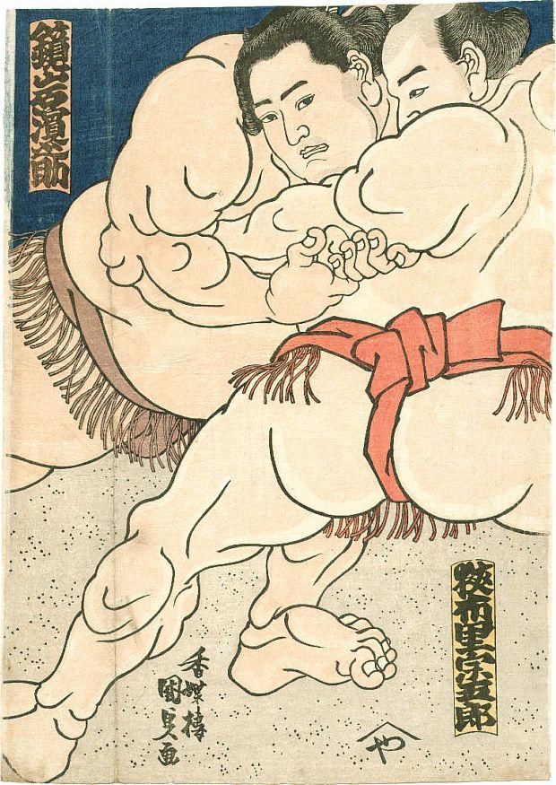 "Utagawa Kunisada, ""Sumo"" 1860s [ Swordnarmory.com ] #Arts #Martial #swords"