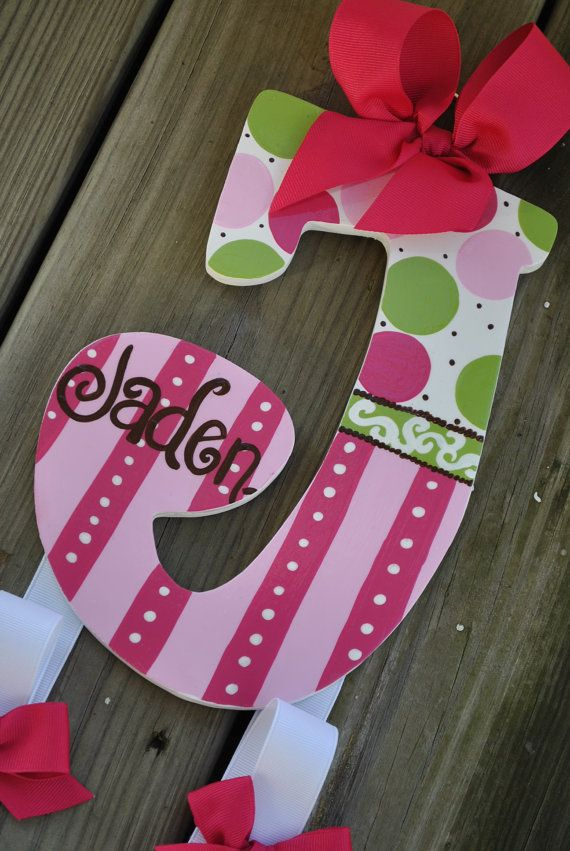 HairBow Holder - FUNNY GIRL - Initial - Handpainted and Personalized Bow Holder