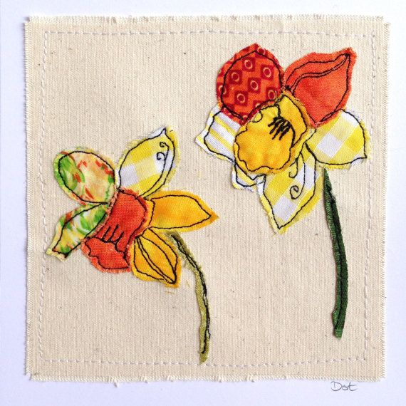 Daffodils flower greeting card, personalised machine embroidered stitched fabric applique. Birthday, sympathy, mother's day. Unframed art
