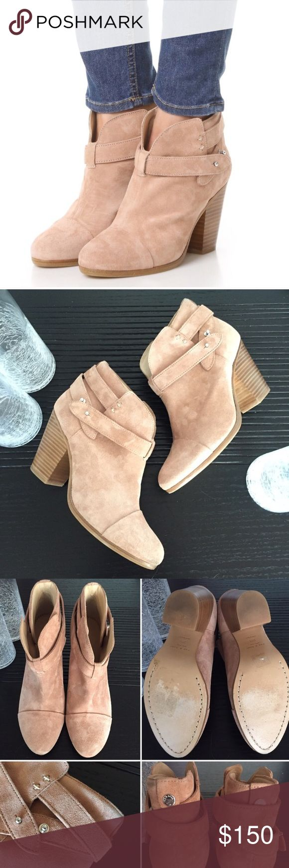 """Rag and Bone // """"Harrow""""Booties Give your black boots a break with these blush Harrow booties. Pushpin hardware modernizes a svelte cap-toe bootie girded with wraparound straps and set on a sculptural block heel. These have only been worn twice and are in amazing condition with just a tiny dark mark on the top of the shaft of the left shoe (shown in pic 3 bottom). Loved by celebrities and bloggers alike, these boots go with everything. Runs small.  3"""" heel with 4"""" boot shaft. Adjustable…"""
