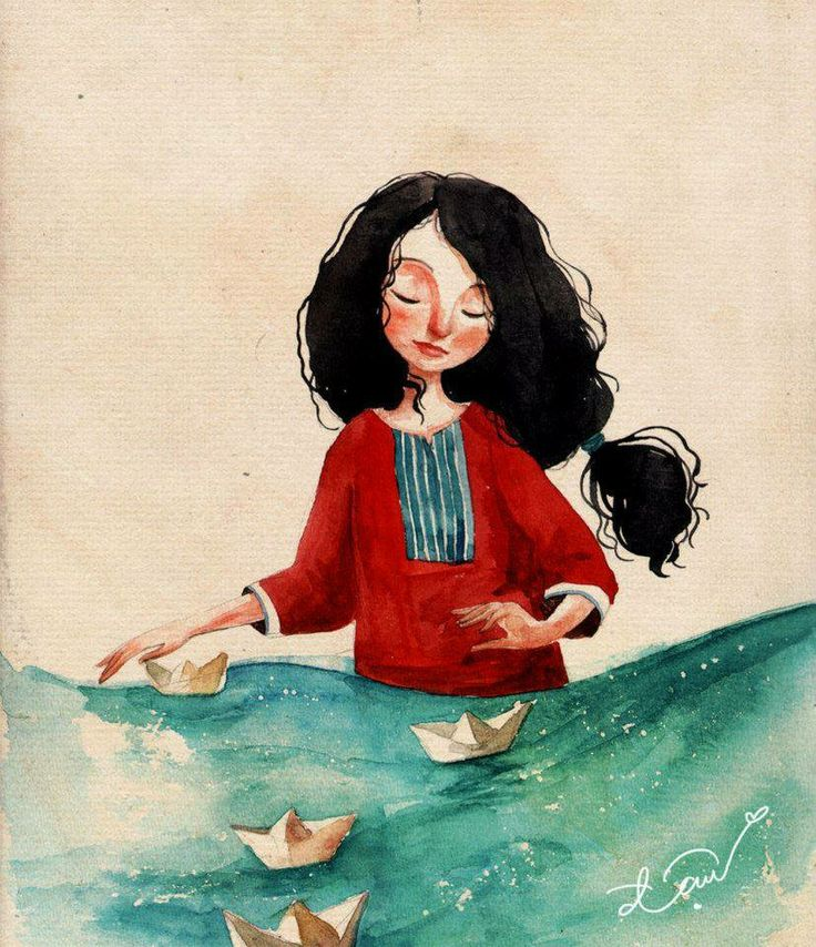 floating paper boat by Cowpea (print image)