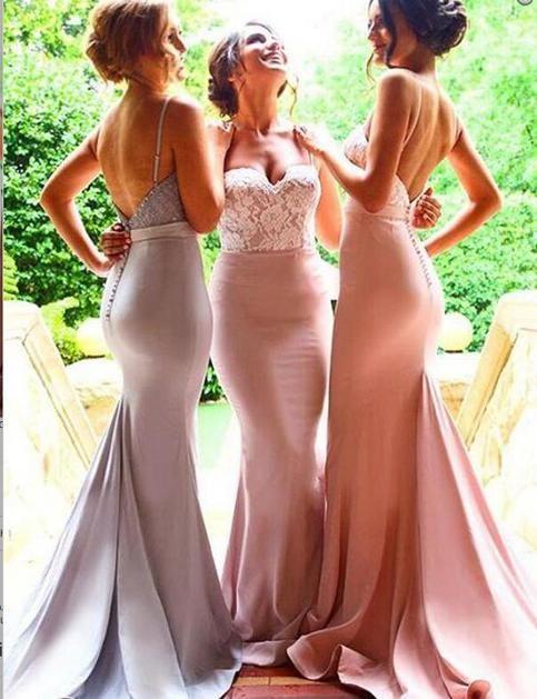 Lace Mermaid bridesmaid dresses, Unique Long bridesmaid dresses, sexy bridesmaid…