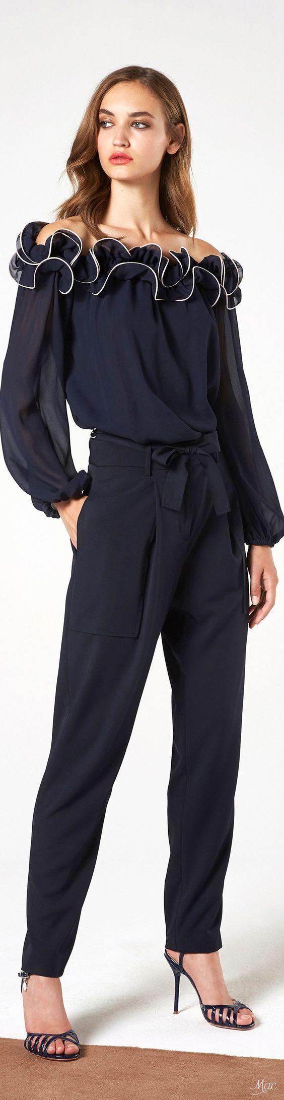 @roressclothes clothing ideas #women fashion black jumpsuit Resort 2018 Blumarine