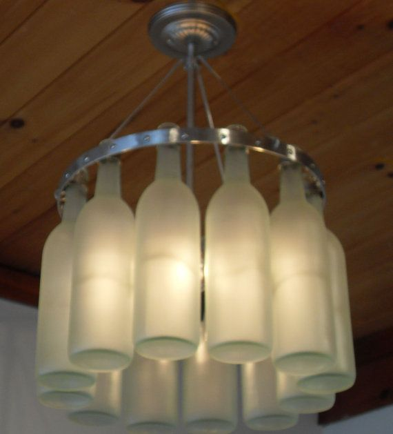 Wine Bottle Chandelier, Stainless Steel with frosted Bordeaux bottles