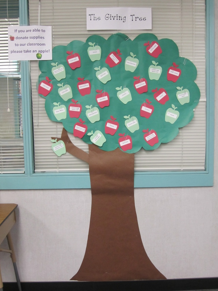 Giving Tree: I typed supplies I needed for the classroom on labels, stuck them on die cut apples, and put them on a tree I made. Parents could pick apples at Back to School night for supplies they could buy!