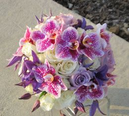 Purple Wedding Flower Bouquet with White Roses
