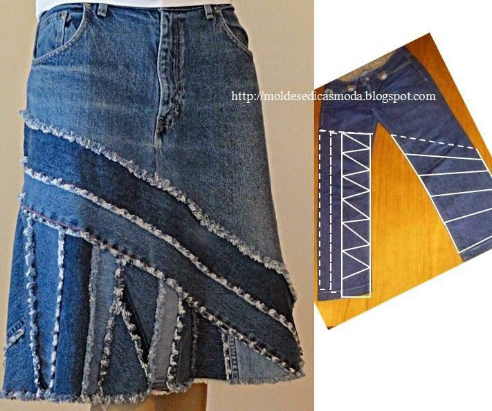 Recycle from jeans. Make a beautiful skirt. The cut of the pants must be done with some care for the result to be desired, so I propose to first make the mould on paper or an old tissue.