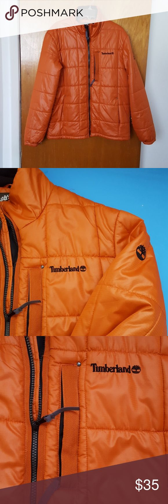Timberland Men's Winter Jacket Light weight polyester.  Zipped chest pocket. Inside velcro closure pocket  for headphone and/ or cell phone.  In good used condition. Timberland Jackets & Coats