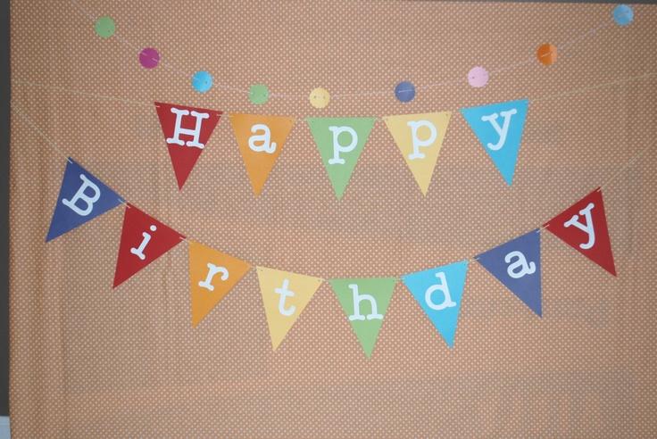 Happy Birthday Banner, Rainbow Birthday Banner, Happy Birthday Bunting. $19.50, via Etsy.