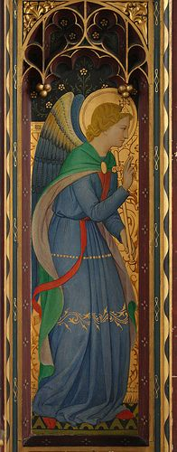 Comper's St Gabriel. Detail from the rood screen of St Cyprian's church, Clarence Gate in London.