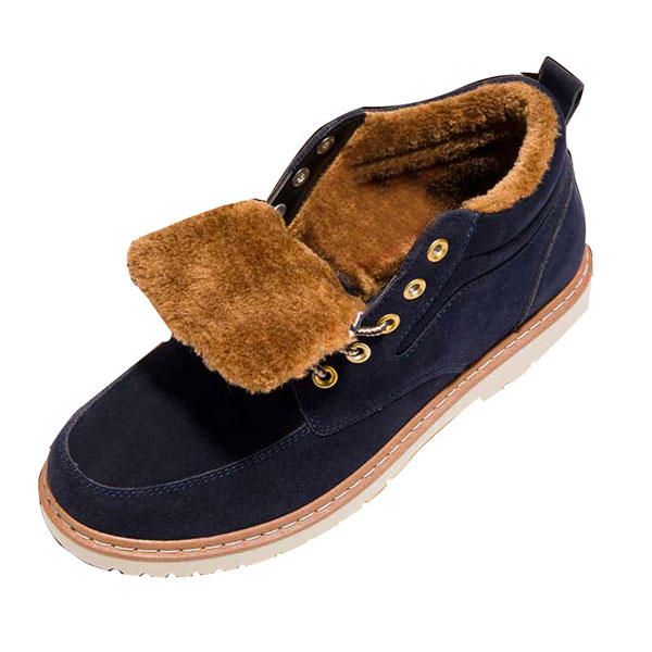 Men Comfortable Warm Fur Lining Suede Lace Up Ankle Boots - US$45.99