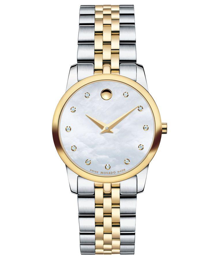 Movado Women's Swiss Museum Classic Diamond Accent Two-Tone Stainless Steel Bracelet Watch 28mm 0606613 | macys.com