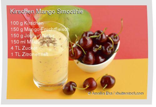 Leckeres Kirschen Mango Smoothie Rezept mit einfacher Schritt-für-Schritt-Anleitung: Kirschen entkernen , Alle Zutaten im Mixer pürieren...