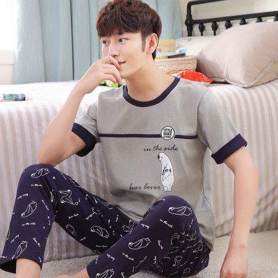 Pajamas For Men Summer Sleepwear Cotton Short Sleeve Leisure Trousers Mens Pyjamas lounge Pajama set