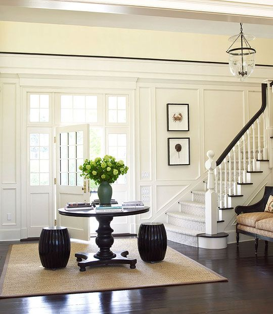 First Impressions 10 Ideas For Entrance Hallway Decor: Dark Floors White Walls Black Chair Rail Trim