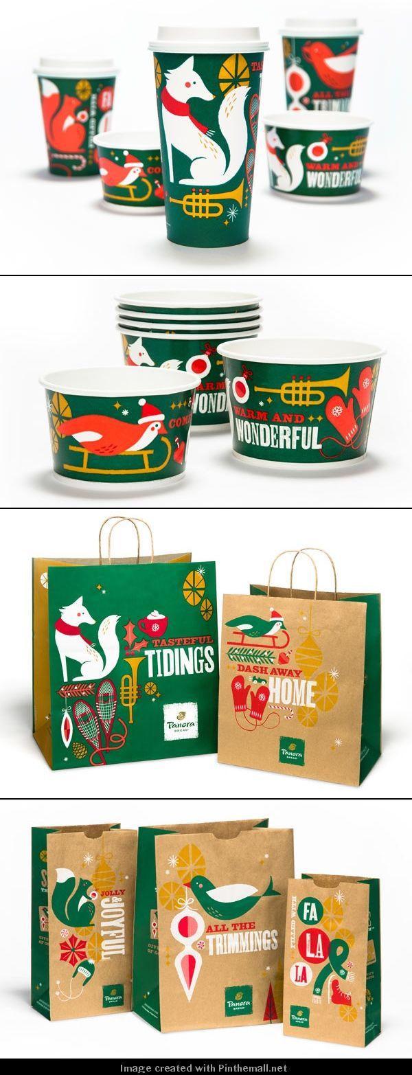 クリスマス風のパッケージ。紙袋、ジュースのカップ