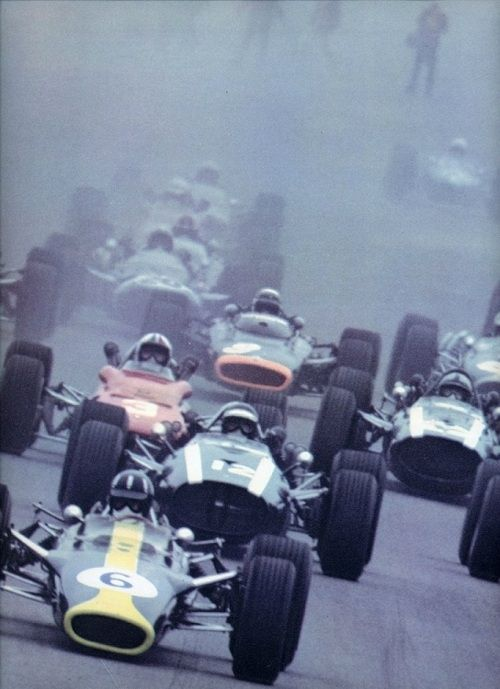 "Formula 1 in 1967 - Graham Hill (Lotus 49), Jochen Rindt and John Surtees in the last official Cooper-Maseratis, Chris Amon (Ferrari), Jackie Stewart in the ground ""breaking"" BRM H16, left from Denny Hulme, later F1-champion 1967, in his Brabham-Repco, in the back a John-Walker Cooper... glory but also tragic years, full of legends - featuring some of the most beautiful race cars of all times. :-)"
