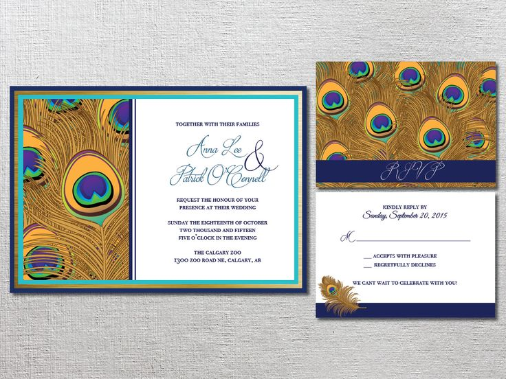 Modern Peacock inspired wedding invitation and RSVP. Designed by Bliss Invitations and Design  |  www.blissinvitationdesign.com