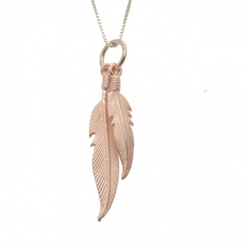 Sterling Silver Jewellery, Double Rose Gold-Plated Sterling Silver Feather Pendant