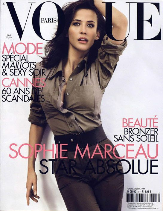 Film and the covers of Vogue Paris: Sophie Marceau on the May 2007 cover of Vogue Paris