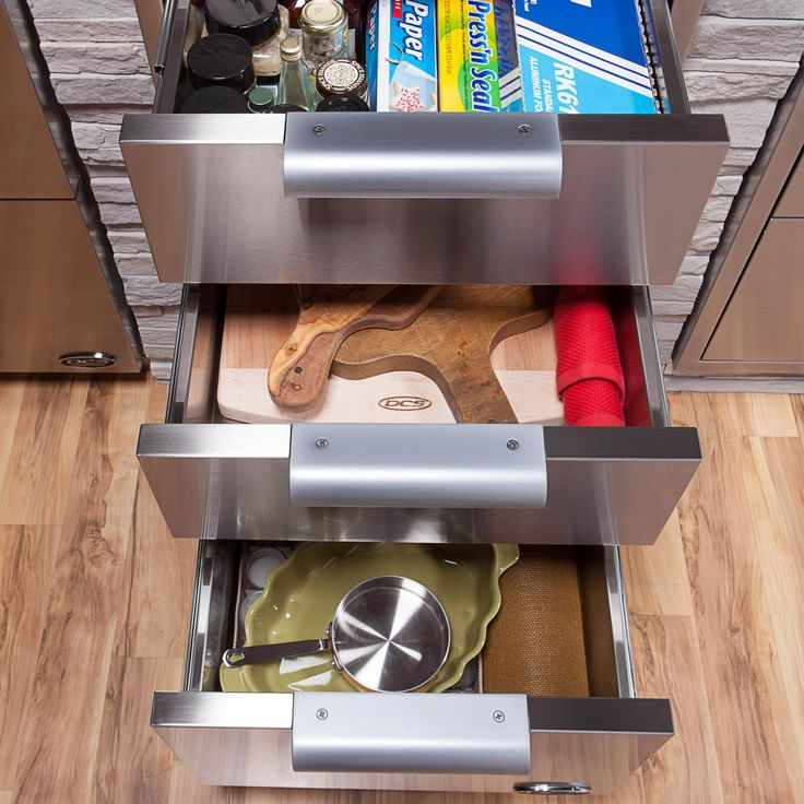 DCS 20-Inch Triple Tower Drawer - Drawers Open