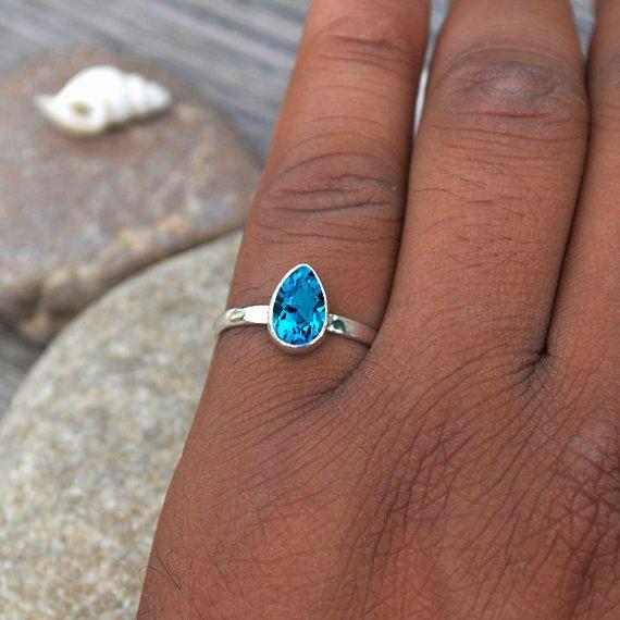 Anillo topacio azul Suiza anillo de plata esterlina anillo