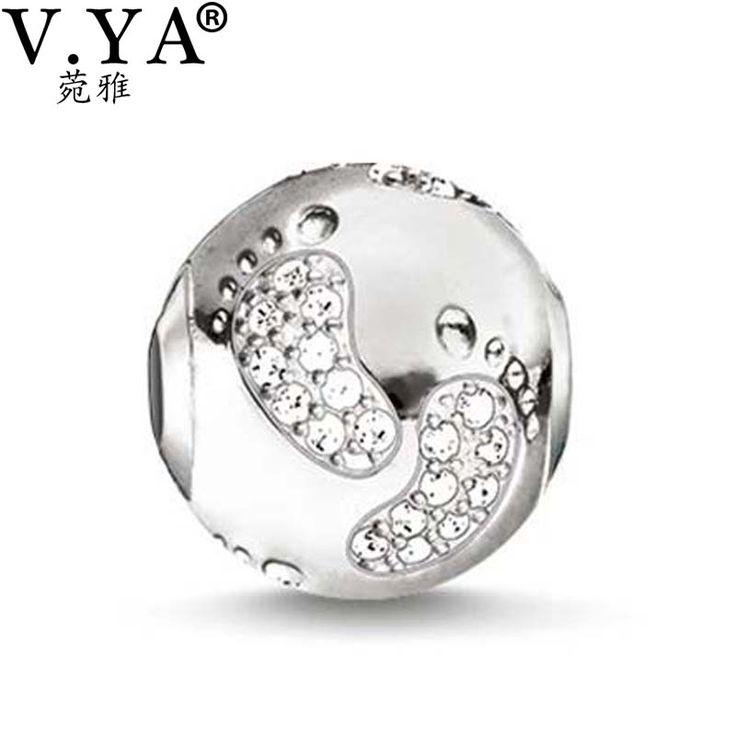 Baby füße Design Perlen passen Pandora Halskette Armband für Frauen Männer Schöne Muster Kristall Charme Perlen DZ2041