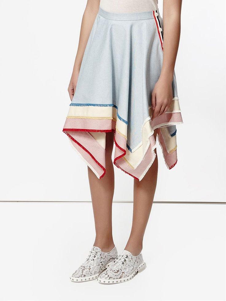 Thom Browne frayed handkerchief skirt