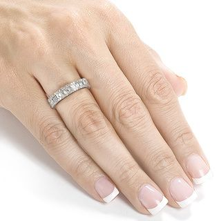 annello white gold emerald cut moissanite and tdw round cut diamond engagement ring g h - Overstock Wedding Rings