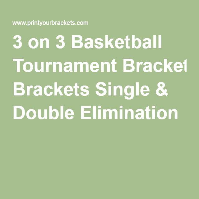 3 on 3 Basketball Tournament Brackets Single & Double Elimination