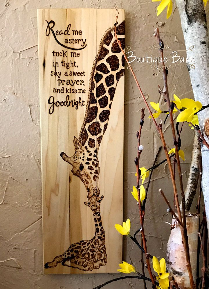 Giraffe/Giraffe Nursery/Baby Giraffe/Giraffe Mom & Baby/Giraffe Wall Decor/Safari Room Decor/Wood Sign/Rustic Decor/Baby Shower/Giraffe Art by BoutiqueBarn on Etsy