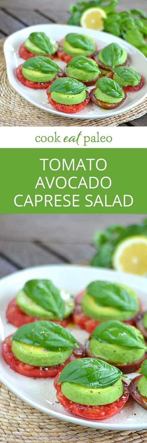 A paleo take on a Caprese salad with tomatoes and basil fresh from the garden. Heirloom tomato avocado salad is the perfect appetizer or lunch.