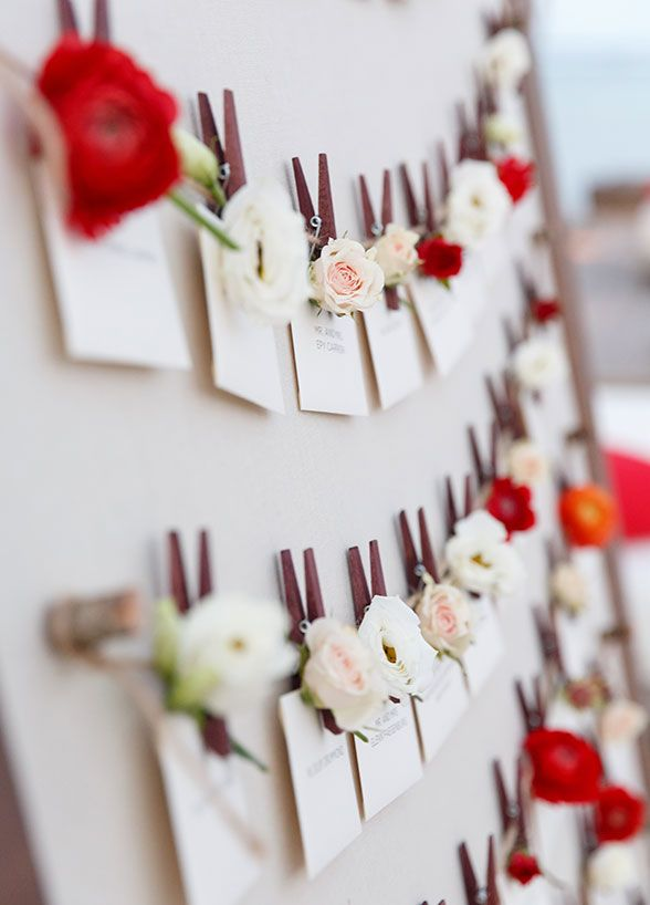 Each guest received a fresh flower with their name card as they found their seat. Wedding Decorations, Destination Weddings
