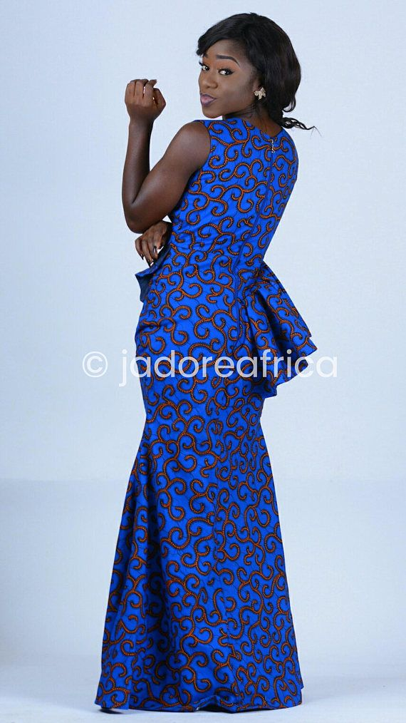 Blue African print maxi dress / African prom dress / African