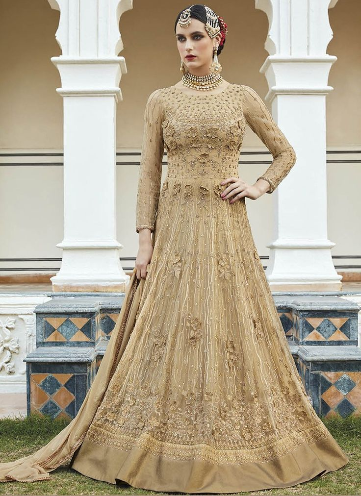 Beige Heavy Embroidered Designer Anarkali  https://www.ranafashions.in/salwar-suits/beige-heavy-embroidered-designer-anarkali-suit.html
