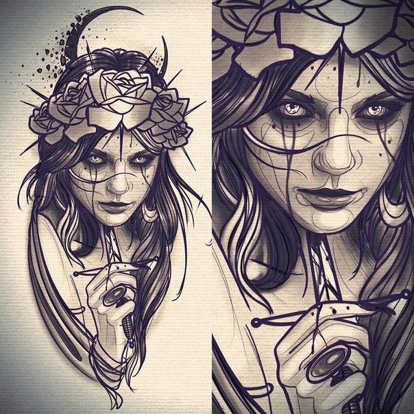 Face Tattoo Gothic Tattoo Witch Tattoo Tattoo Drawings