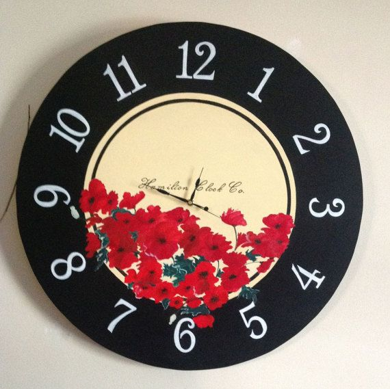 Clock Oversized Clock Giant Clock Flower Clock by MacalusoSigns
