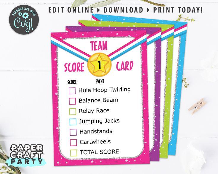 Gymnastics Party Printable Score Cards, Meet Cards, Edit