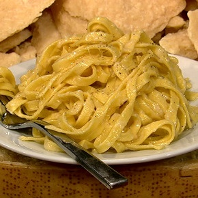 Mario Batali's Fettuccine Alfredo: A simpler dish than most know, he shared, of mainly fettuccine pasta in butter & parm-reg cheese, originally invented as something more familiar for the American actors in Rome.