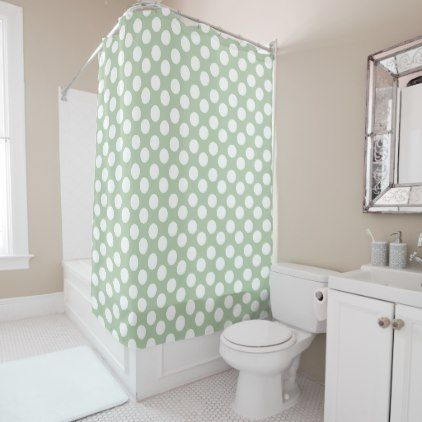 Grayed Jade and White Polka Dot Shower Curtain - home gifts ideas decor special unique custom individual customized individualized