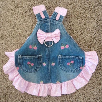 Denim Blue Jean Pink Bow Strawberry Harness Dress XS Small | eBay