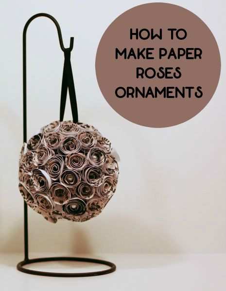 DIY Paper Roses Ornaments.  This paper rose ornament is a great DIY home decor item or craft project. Includes template for making the paper roses.
