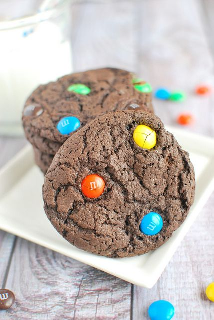Chocolate M&Ms Cake Mix Cookies - turn a box of cake mix into the most delicious chocolate cookies!
