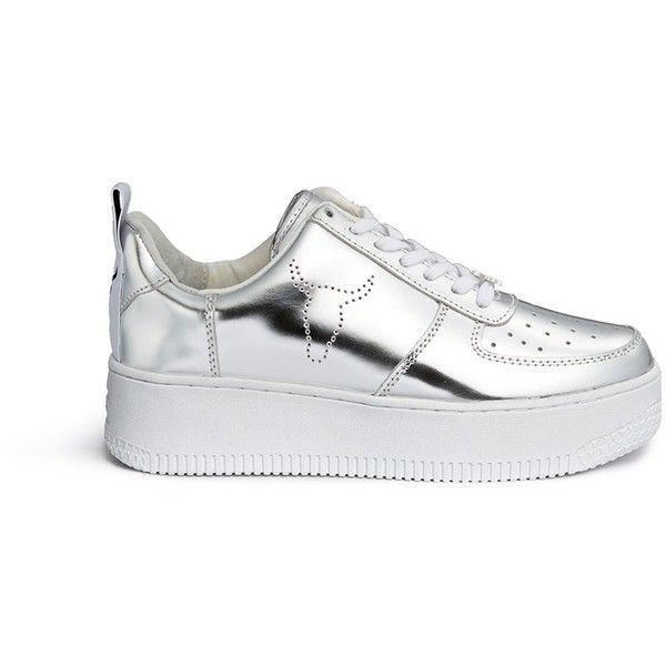 Windsor Smith 'Racerr' mirror leather platform sneakers (11,975 INR) ❤ liked on Polyvore featuring shoes, sneakers, metallic, platform shoes, platform sneakers, mirrored shoes, metallic platform shoes and platform trainers