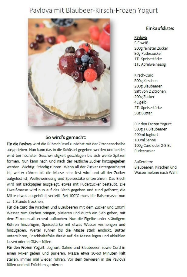 Pavlova with frozen blueberry cheery yogurt - Pavlova mit Frozen Yogurt | Das Knusperstübchen