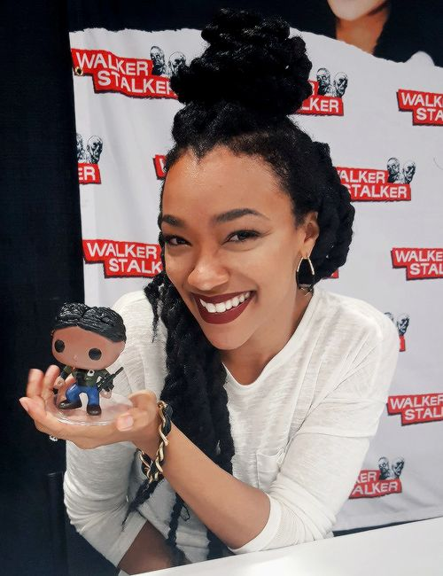 Sonequa with her Sasha Funko Pop figure