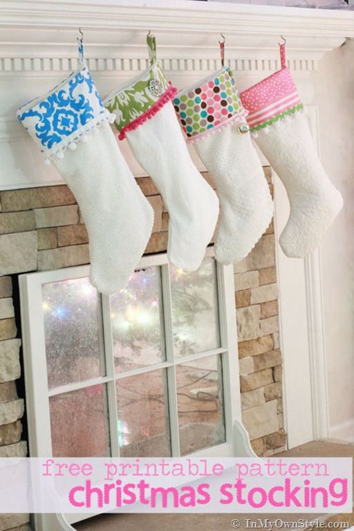 How to make a cuffed Christmas Stocking. Free printable pattern and tutorial { In My Own Style}Bright Christmas, Christmas Pattern, Cuffedstockingpattern Pdf, Christmas Tutorials, Christmas Deocrating, Christmas Stockings Pattern, Cuffed Stockinger Pattern, Diy Christmas, Fabrics Christmas Crafts