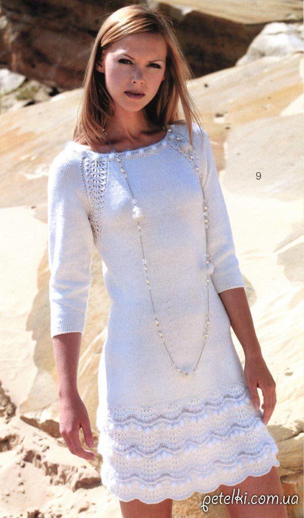 Нарядное белое платье спицами. Описание, схема